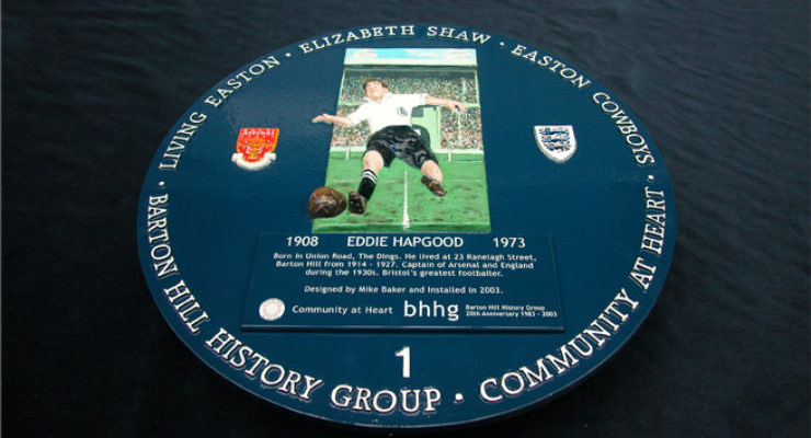 Eddie Hapgood - Blue Historic Plaque - 3d Modelled, Barton Hill, Bristol