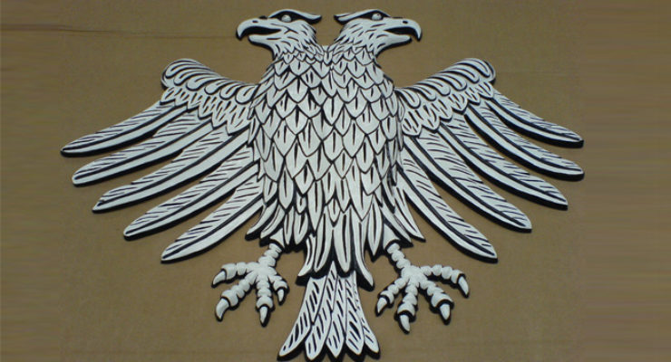 Two Headed Eagle, Hand Sculpted, Cast in Aluminium and Hand Painted