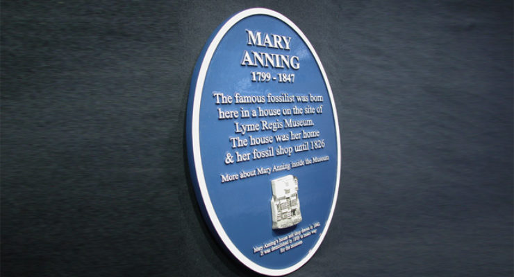 Mary Anning - Blue Heritage Plaque with 3d element - Solid Cast Aluminium