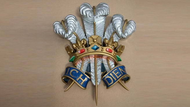 Close up the Crown on Prince of Wales Royal Warrant Coat of Arms