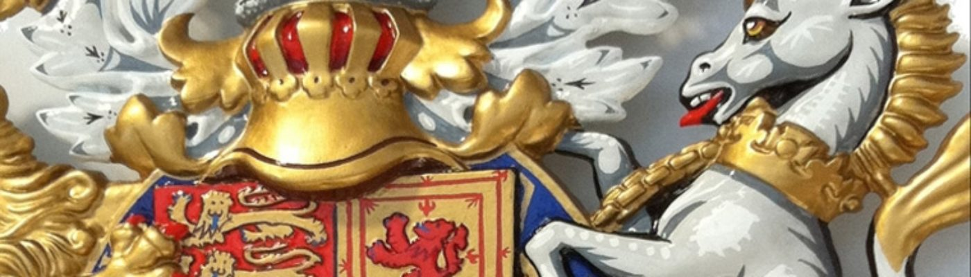 Royal Warrant Coats of Arms and Citation Plates, Hand Painted and Gold Gilding