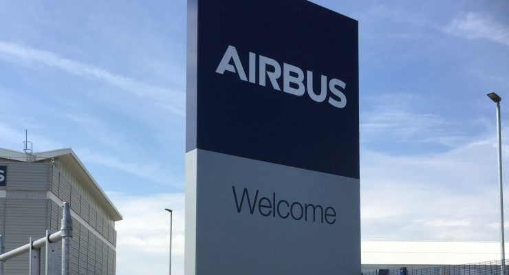 Large Aluminium Totem Monolith Sign for Airbus at their Filton Branch