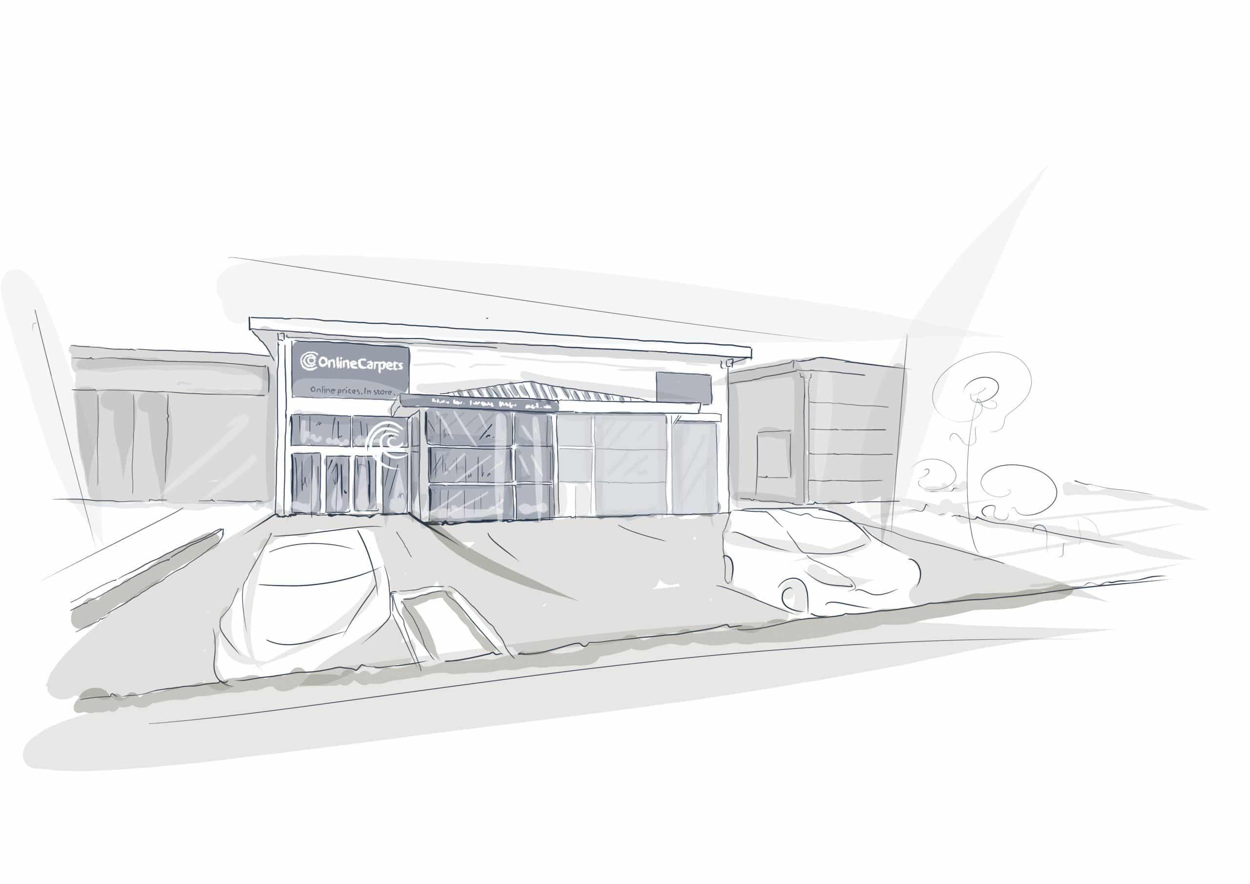Shop SIgn Retail Park - Cardiff - Online Carpets