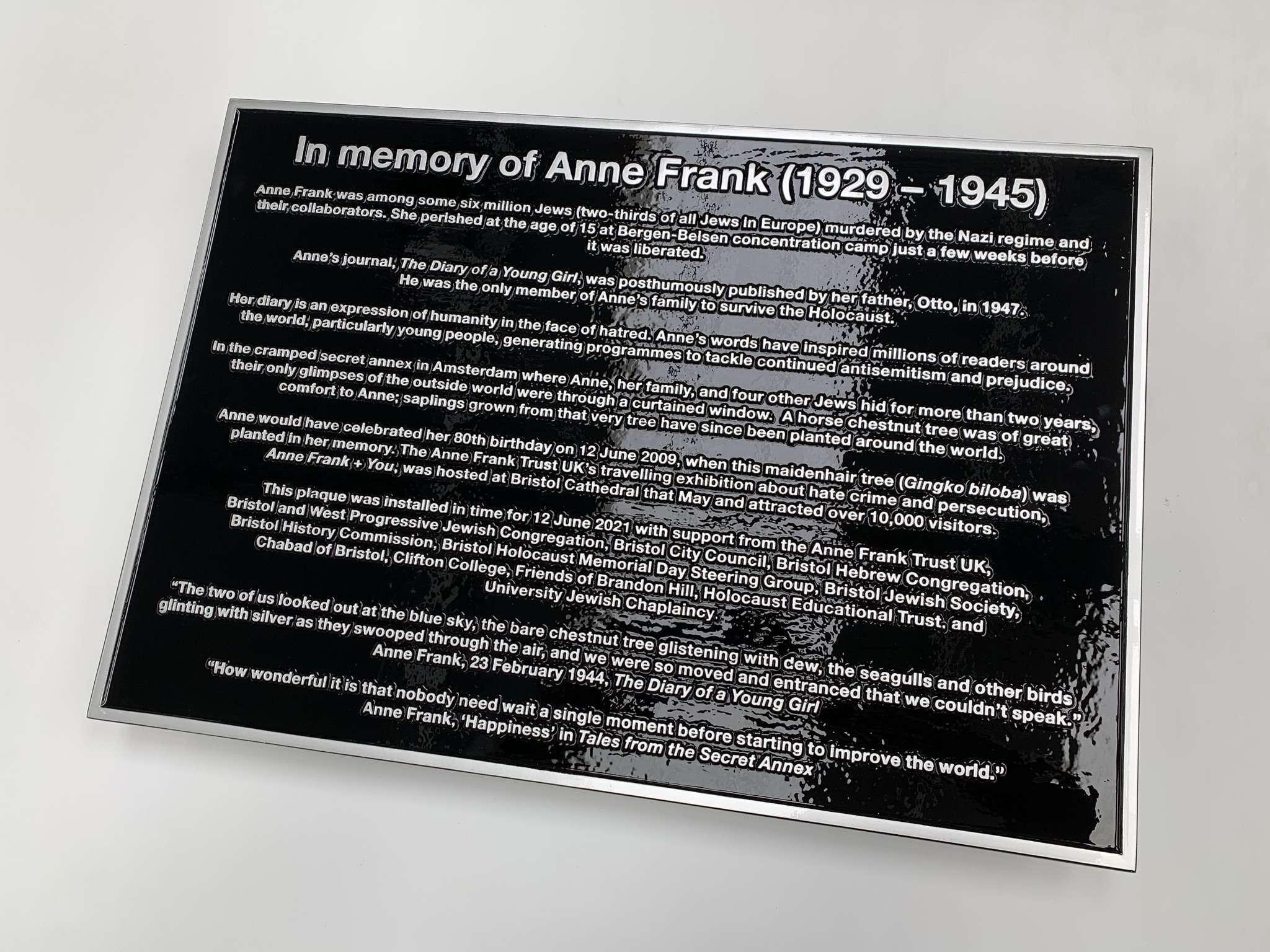 Cast Metal Memorial Plaque Encapsulated Lacquer