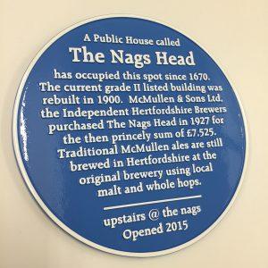 The Nag's Head Blue Heritage Plaque