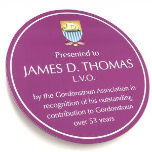 James D. Thomas Enamelled Aluminium Plate