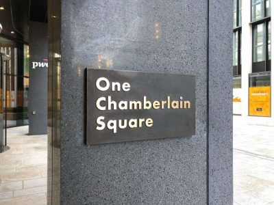 One Chamberlain Square Cast Bronze Plaque with Linished Text