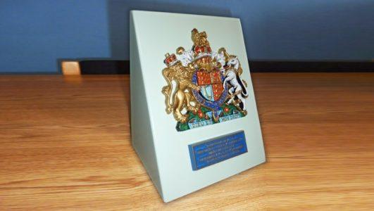 Royal Warrant Coat of Arms on Bespoke Aluminium Signage Stand