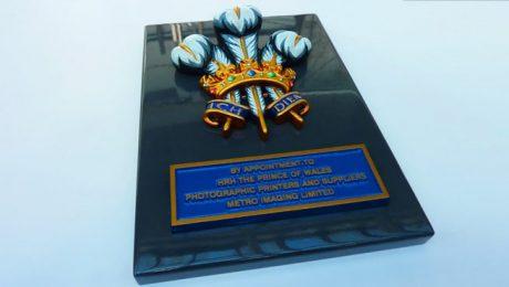 Royal Warrant Coat of Arms - Photo Showing Finish on Folded Aluminium Backing Tray