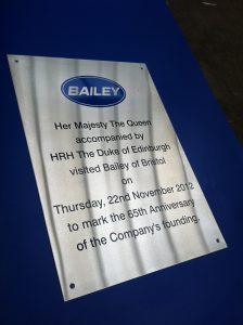 Satin Finish Stainless Steel Plaque made for Queens Visit