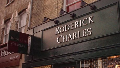 Illuminated Sign for Roderick Charles, London. Cast Resin Letters