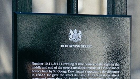 10 Downing Screet, Screen Printed Aluminium Panel 5mm thick with bevelled edges