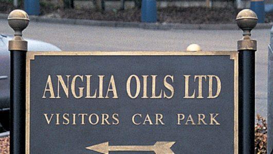Anglia Oils Ltd - Post Mounted Solid Cast Aluminium Sign