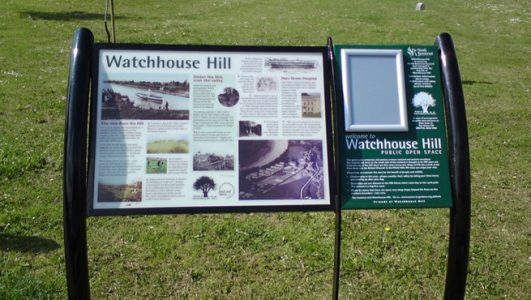 Post Mounted Info Panel with Clip Frame - Watchtower Hill, North Somerset Council