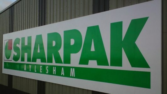 Sharpak Aylesham, 3000mm high aluminium panels with vinyl lettering