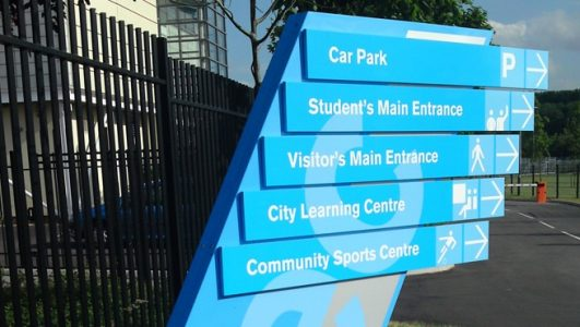 Custom Stylised Fingered Monolith Style Sign Post for Brislington Enterprise College