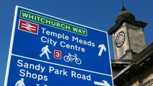 Cycling Signage - Bristol Cycling City - Temple Meads