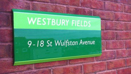 Trapezoid Stylized Bespoke Signage for Westbury Fields Retirement Home, Bristol