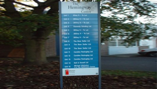 External Changeable Slat Directory, Post Mounted Sign