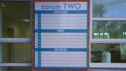 External Wall Mounted Replaceable Slat Directory Signage