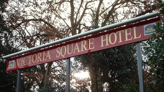 Illuminated Post Mounted Sign, Victoria Square Hotel, Bristol