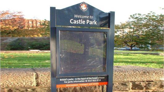 Locakable Park Noticeboard - Castle Park, Bristol City Council