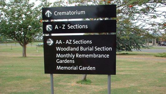 Bristol City Council, South Bristol Crematorium, Post Mounted Panel Sign