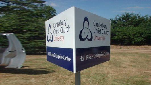 Triangular Post Mounted Sign - Cantebury Christ Church University