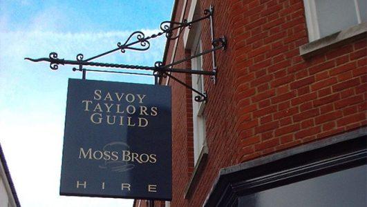 Savoy Taylors Guild (Moss Bros) Projecting Custom Iron Sign