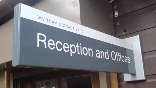 University of Bristol UoB Waltham Cottage Yard Long Projecting Sign