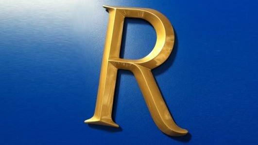 Gold Painted Cast Solid Resin R - V Section Roman Font