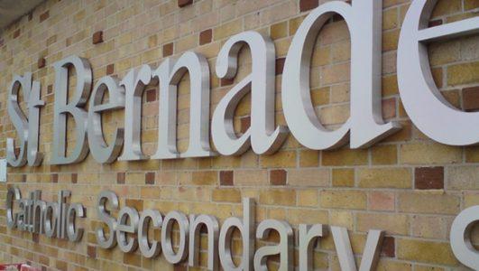 St Bernadettes - Built Up Stainless Letters