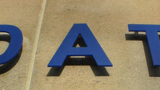 Cut Out Acrylic Letter A on Stand-off Locators (Legs)
