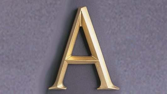"""V-Section Cast Resin Letter """"A"""" Painted in Gold"""