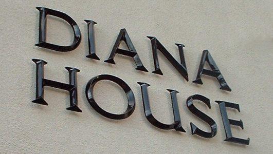 Diana House - Gloss Black Cast Aluminium Letters