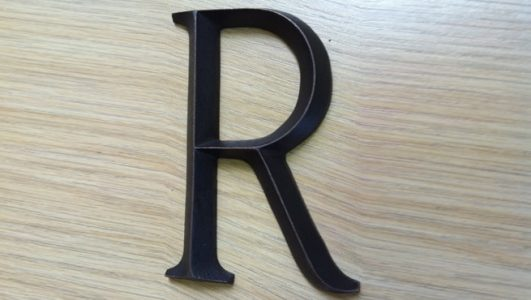 Solid Bronze Cast Metal Letter R