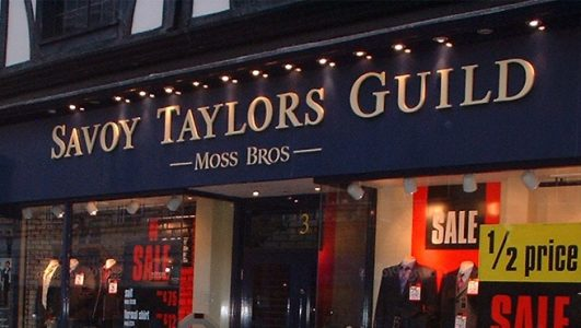Savoy Taylors Guild - Illuminated Lettering, Moss Bros Shop Front