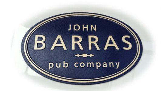 Cast Aluminium Plaque - John Barras Pub Company