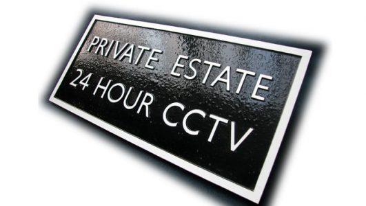 Foundry Cast Aluminium Plaque for CCTV on a Private Estate
