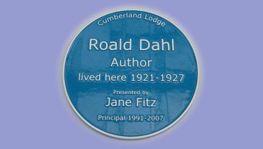 Blue Heritage Plaque - Solid Cast Aluminium - Roald Dahl