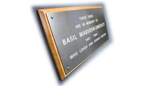Basil Marsden-Smedly - Engraved Bronze Plaque on Hard Wood Plinth