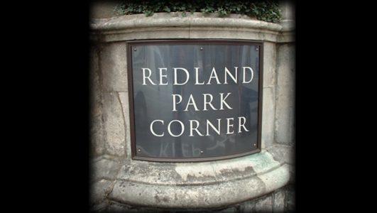 Curved Bronze Plaque with Engraved Detail, Redland Park Corner, Bristol