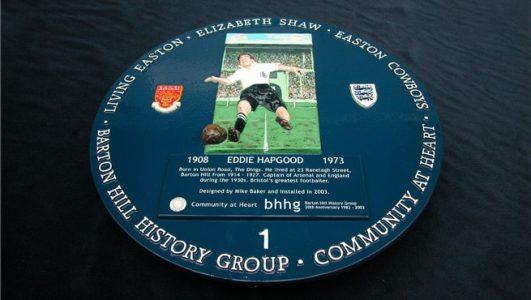 Eddie Hapgood - Blue Historic Plaque - 3d Modelled, Barton Hill, Bristol