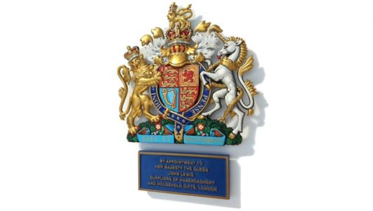 Royal Warrant Crest for John Lewis, Cast in Solid Aluminium and Hand Painted